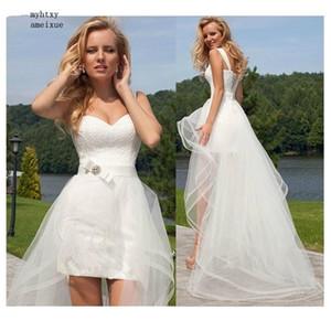 2020 Princess Cheap Lace Wedding Dress Sweetheart Detachable Train Gown Sleeveless Boho Short Skirt Beach Bride Simple Plus Size Q1113