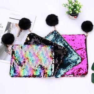 21cmx16cm Reversible Sequins Mermaid Glitter Make Up Pouch Fashion Handbag Popular Lady Cosmetic Bag Evening Clutch Bag NWD3273