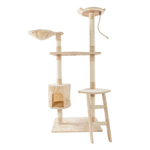 "60"" Solid Cute Sisal Rope Plush Cat Climb Tree Cat Tower Beige Cat Furniture Scratchers"