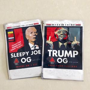 Más nuevo Trump OG Dormir Joe OG 3 5G Mylar Bolsas Lados Sellado Placa Plana 420 Bolsas de embalaje de flores de hierbas secas