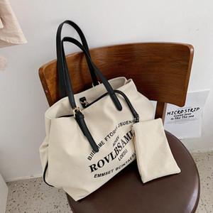Moda lettera stampa tela grande capacità totes borse da donna borse a tracolla per studenti lady grande borse 20191