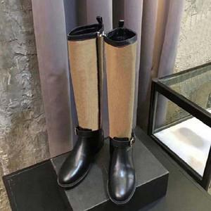 2021 gut verkaufen Mode Frauen Kniestiefel Echtes Leder Baumwollgewebe Buchstaben Runde Kopf Mittelstiefel für Cowboy Booties Startseite011 11
