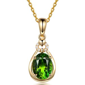 gold color emerald small pendant necklaces for women green crystal gemstones diamonds vintage bijoux party jewelry choker LJ201016