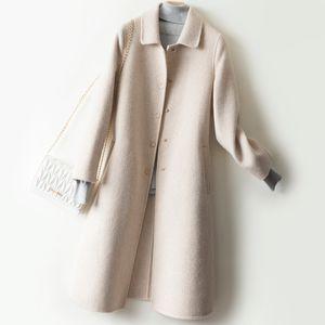 Women Overcoat Warm Ladies 100% Merino Wool Long Sleeve The New Fashion Autumn Winter Thick Warm Mid-Long Jacket Coats 2020