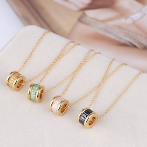 Luxury designer jewelry women necklaces zircon circle rings pendant necklace gold plated pink black ice Flower accessories elegant necklace