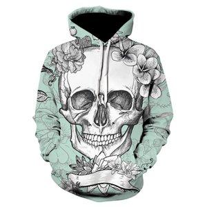 3d New Skull Felpe con cappuccio Uomini Donne CloudSyle Tattoo Skull 2020 Vector Stampa PullOver Light Blue Felpe Felpe Unisex Tracksuit con cappuccio