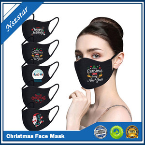 Face mask Merry Christmas Santa Snowman Breathable fashion face masks dust fog Pure Black Blank facemask in stock