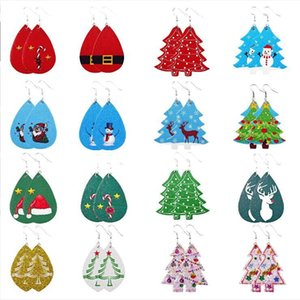 Weihnachten Leder Ohrringe Faux Leder Baumeln Tropfen Ohrringe für Frauen Weihnachtsbaum Bell Hirsche Tropfen Ohrring Für Weihnachtsgeschenk GWA2532