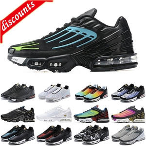Yeni TN Artı 3 Erkekler Kadın Spor Ayakkabı Üçlü Beyaz Siyah Yanardöner Paraşüt Paketi Örümcek Erkek Eğitmenler Spor Sneakers Koşucular