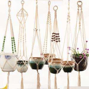Appendini vegetali Macrame Pentole di fiori Portabicchieri intrecciati Appeso Piantatore Pandiere Casa Creativo Giardino Decor 8 Designs opzionale LLS132
