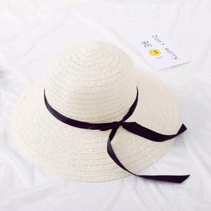 Jiangxihuitian 2018 أزياء الصيف القش قبعة قبعة السيدات المرأة طوي واسعة كبيرة بريم الشريط bowbeach قبعة الإناث قبعة الشمس WMTSFE