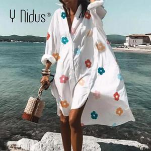 Y Nidus automne Robes florales Femmes Mini-shirt Mini-shirt 2020 Boho Beach Flowy Swing Robe de décalage V-Cou Bouton Lâche Sundress