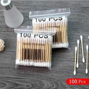 Ohr sauber Baumwollknospe Frauen Schönheit Make-up Baumwolle Tupfer Doppelkopf Baumwollknospen Make up Hölzerne Stöcke Ohren Reinigung Kosmetik Werkzeuge DHB3364