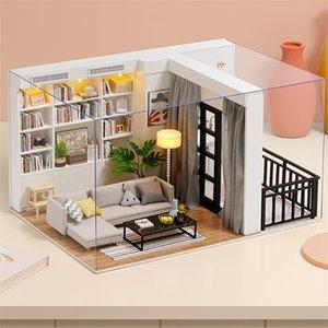 CuteBee DIY DIY MAISON DE Poupée en Bois Kit de meubles de maison miniature avec jouets LED pour enfants Cadeau de Noël QT05 201217