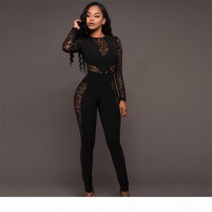 free shipping Fashion New Design Lace Jumpsuit Long Sleeve High Quality Comfortable Bodysuit Catsuit Retail Wholesale