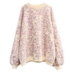 HSA 2020 Autumn Winter Women Leopard Pullover and Sweaters Round Neck Oversize Sweater Jumpers Casual Leopard Korean Pull Femme