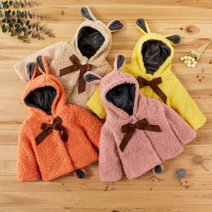 PatPat 2020 New Baby Sweet for Children Girl Hooded Coat Warm Winter Bow Design Kids Clothes Tops Q1203