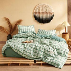 4 pcs Green xadrez conjunto de cama impresso chapa lençol liso folha de cama saia espalhar tampa da colcha de cobertura rei rainha tamanho gêmeo