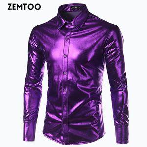 ZEMTOO Men's Metallic Silver Nightclub Style Top Light Stage Show Long Sleeve Shirt FD020