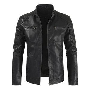 New Arrivals Mens Leather Jacket Winter Men's Casual Stand Collar Warm Motorcycle PU Leather Jacket Coat Male Clothes Outerwear