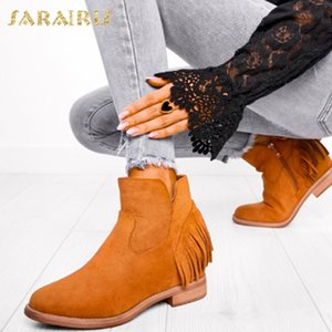 Sarairis Brand 2020 Top Quality Vintage Fringes Fashion Ankle Boots Shoes Women Western Boots