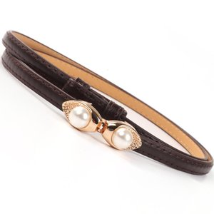 Thin Adjust Belts For Women Dress Belt Gold Buckle Faux Pearl Decoration Black Brown Waistbands For Wedding Jeans Dropshipping sqcCHU