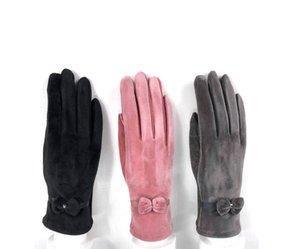 Winter Leather Gloves Mink Fur Sheepskin Touch Screen Gloves Autumn and winter Women's Fingerless Gloves Keep Warm Glove
