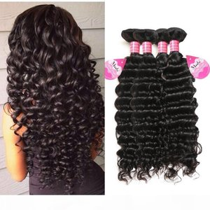 Cheap 8A Brazilian Human Hair Deep Wave 4 Bundles Unprocessed Virgin Peruvian Indian Malaysian Deep Curly Hair Weave Bundles Wholesale Price