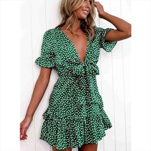 2020 Women Dress Boho Floral Ruffle Short Mini Dress Summer Knot Sexy V Neck Party Holiday Femme vestido de mujer