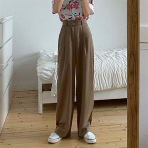 WHCW CGDSR Casual High Taille Koreanische Stil Winter Herbst Solide Streetwear Hose Frauen Gerade Frau Anzug Hosen Breites Bein 201104