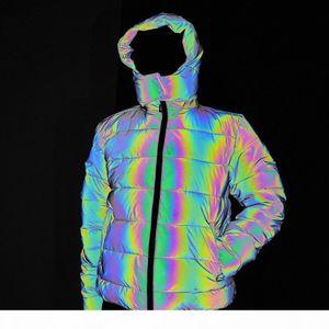 Women men Hip Hop Hooded Parka Rainbow Dazzling 3M Reflective Light Winter Jacket Coat Windbreaker Younger Padded Fleece Coat