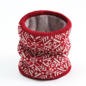 Snood Women Ring Neck Scarf Knitted Cashmere Cotton Feeling Bandana Print Christmas Accessories Unisex Warm Scarves for Men's
