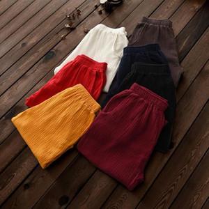 Women Straight Pants Casual 2020 Autumn New Pockets Elastic Waist Loose Cotton Linen Patchwork Vintage Original Pants M 7XL