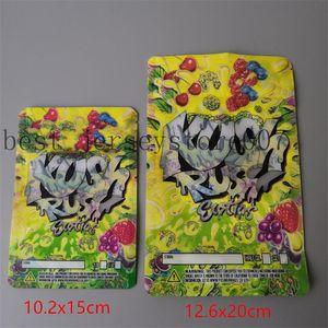 İki Boyutlu Kush Rush Exotics Çanta Sıfırlanabilir Fermuar Fermuarlı Fermuarlı Conta Kıdemli Çiçekler Ambalaj 3.5g veya 7g Mylar Çanta Kush Rush Mylar Çanta99