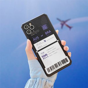Personality Travel tickets label phone case for iPhone11 pro max SE 2020 7 8 plus X XS XR XM soft silicone protective back cover