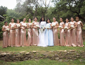 Rose Gold Long Bridesmaid Dresses Mermaid Short Sleeve Backless Sequined Wedding Party Dresses Guest Maid of Honor Dress P154