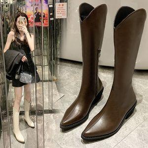 Mulheres longas outono e inverno líquido vermelho sapatos grossos salto apontado cavaleiros botas simples tube western cowboy q1207