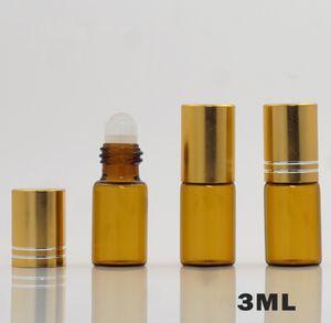 500pcs 3ml Refillable Roller Ball Empty Bottle Brown Glass Essential Oil Perfume Container Fragrance Pot Mini Sample Dispenser