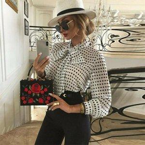 Womens Long Sleeves Polka Dot Tops Shirts Blouse Puff Sleeve Turtleneck Ladies Casual Bow Tie Neck Shirt Elastic Waist Soft S-2XL