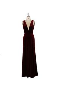 Korean velvet wedding bridesmaid dress deep V bare back slim wine red elegant show quality dresses