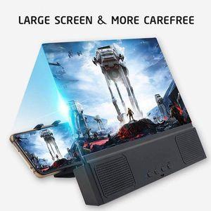 Porta telefonico 12 pollici Amplificatore schermo 3D Amplificatore per cellulare Lente di ingrandimento HD Film portatili con Bluetooth Speaker Stacket Staffa
