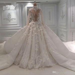 2021 Vintage 3D Lace Appliqued Ball Gown Wedding Dress Sparkly Luxury High Neck Long Sleeves Saudi Dubai Arabic Plus Size Bridal Gown