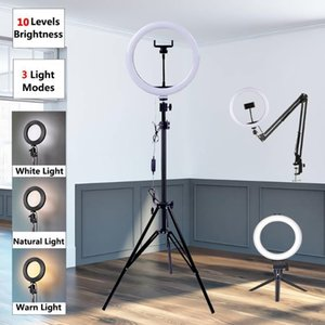 Flash Heads RGB Selfie Ring Dimmable Light LED Lamp Big Pography Ringlight 26cm With Stand For Phone Studio Tiktok1