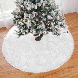 Christmas Tree Skirts Tree Base Floor Mat Anti Slip Carpet Door Foot Pad Round Apron White Flat Shear Carpet Seat Cover