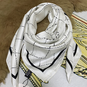 New style good qualtiy 100% twill silk material white color print letters square scarf for women size 90cm-90cm