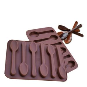 غير عصا سيليكون diy كعكة الديكور قوالب 6 ثقوب ملعقة شكل الشوكولاته قوالب جيلي الجليد الخبز العفن 3d الحلوى العفن DHD3082
