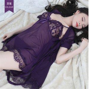TRASPARENTE MESH Hot Jacquard Due Piece Pigiama Donne Pigiama Manica lunga Abbigliamento Abbigliamento domestico Indossare Sexy Suspender NightDress