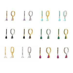 925 Sterling Silver Huggie Hoop Earrings Tear Shape Cross Flower Colorful Crystal Hoop Earrings Set for Women Birthday Gifts B1205