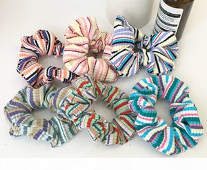 Sonho arco-íris vintage faixa de malha faixa de cabelo menina grande anel de intestino headband messy bun acessórios cocar