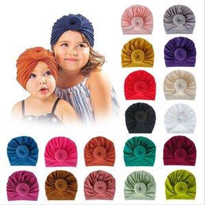 طفل محبوك غطاء الرأس دونات العصابة محبوك القطن بابيس القبعات الأزياء بلون الحياكة قبعة الطفل لوازم GWB3777